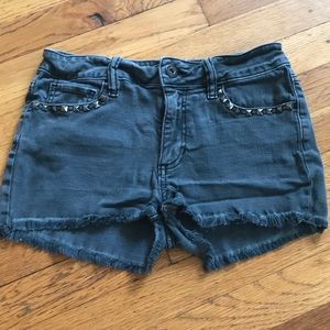 Pants - Gray studded mid to high rise shorts